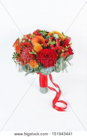 Red and orange bouquet isolated on white background
