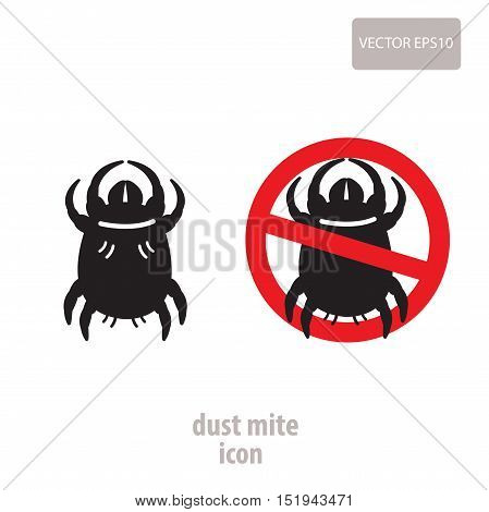 Dust Mite Icon. Vector Illustration Of A Prohibition Sign For House Dust Mites. Insect Prohibition Sign. Dust Mite Picture. Dust Mite Bites.