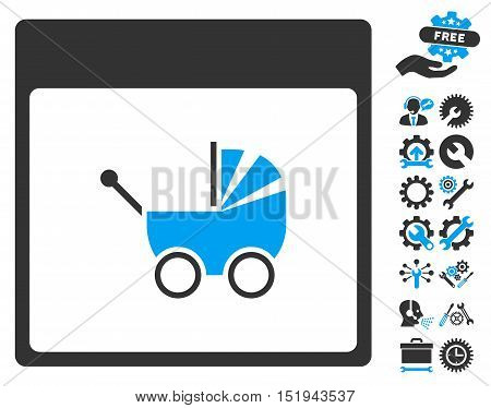 Baby Carriage Calendar Page pictograph with bonus service clip art. Vector illustration style is flat iconic symbols, blue and gray, white background.