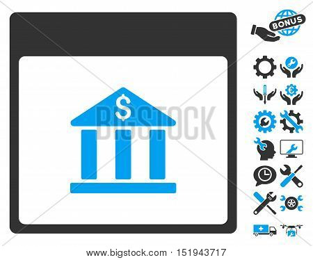Bank Building Calendar Page icon with bonus configuration graphic icons. Vector illustration style is flat iconic symbols, blue and gray, white background.