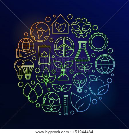 Eco colorful illustration. Vector bright circular ecological symbol made with thin line ecology and nature icons on dark blue background