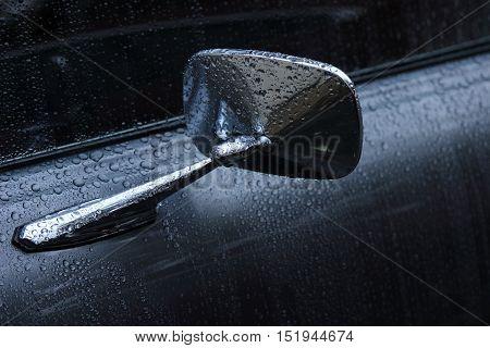 1971 Pontiac Lemans rear view mirror in the rain