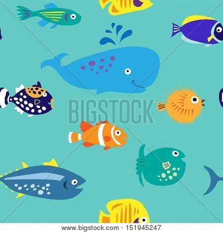 Seamless Pattern With Bare Marine Tropical Fish