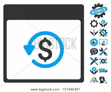 Chargeback Calendar Page pictograph with bonus service pictograph collection. Vector illustration style is flat iconic symbols, blue and gray, white background.