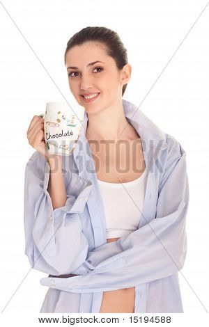 Woman Men's Shirt Having Morning Coffee