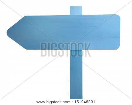 Blue wooden signboard on white background
