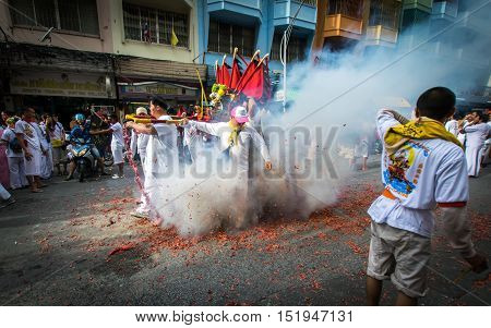Hatyai, Songkhla Vegetarian Festival Thailand. Date Oct. 7, 2016. The parade gods In the Vegetarian Festival.People celebrate a vegetarian festival during the festival ritual mortification is practised to appease the Gods.Action photography Capturing move