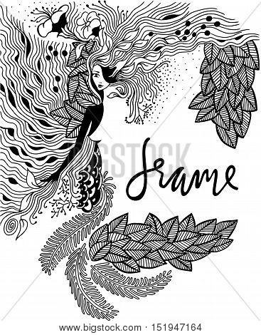 Vector illustration Zen Tangle portrait of a woman in a flower frame. Doodle forest, garden. Coloring book anti stress for adults. Black and white. Vector illustration