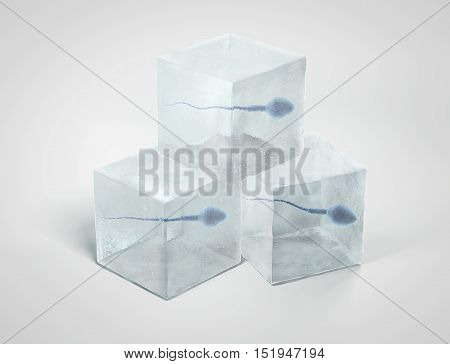 Frozen spermatozoon. Sperm in ice cube on white background. 3D illustration.