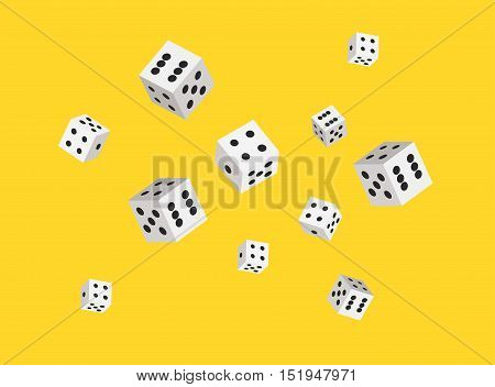 Vector dices background for casino. Sharp edges. Flat style design