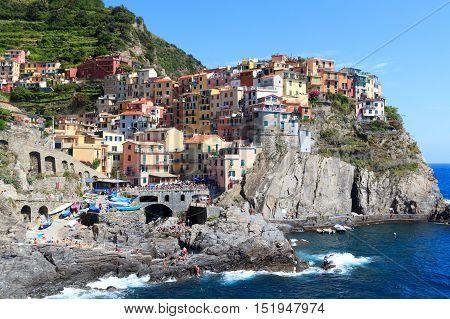 Cinque Terre Village Manarola With Colorful Houses And Mediterranean Sea, Italy