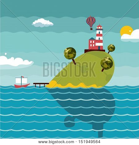 Flat style background with seascape. Template for post and greeting cards.