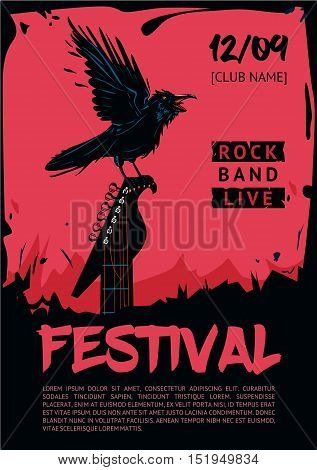 Raven with guitar. Poster template for club, festival, concert and rock party. Grunge style.