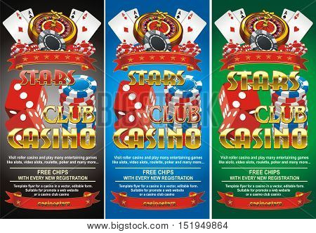 Invitation, advertising flyer in the casino. Vector illustration in three colors