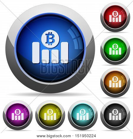 Set of round glossy Bitcoin graph buttons. Arranged layer structure.