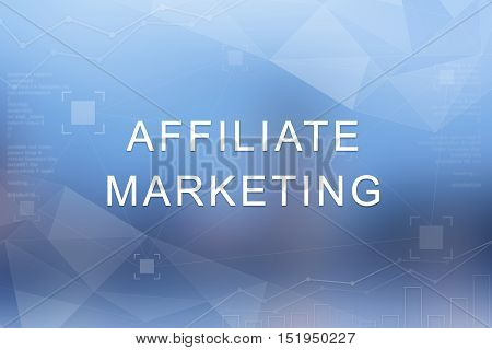 affiliate marketing word on blue blurred and polygon background