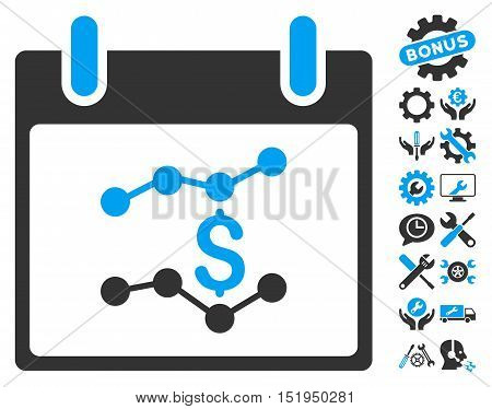 Financial Charts Calendar Day pictograph with bonus settings clip art. Vector illustration style is flat iconic symbols, blue and gray, white background.