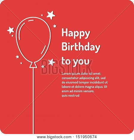 Happy Birthday minimalistic linear poster on bright red background. Vector illustration.