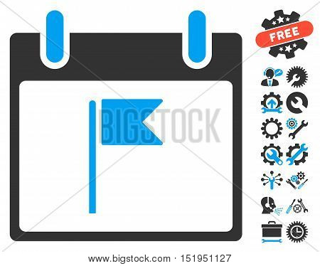 Flag Calendar Day icon with bonus tools clip art. Vector illustration style is flat iconic symbols, blue and gray, white background.