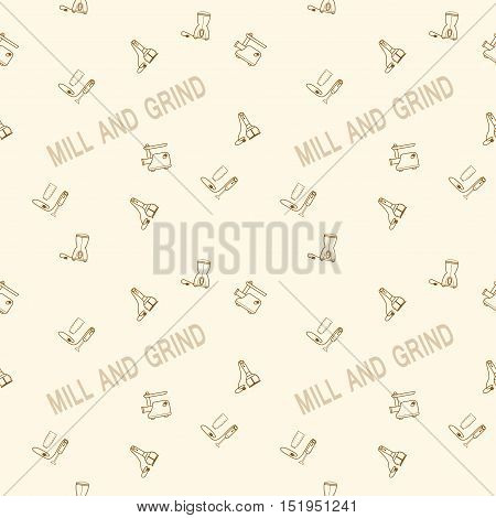 Seamless vector pattern of the coffee mill blender and meat grinder on the background with the words