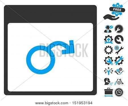 Impotence Calendar Page icon with bonus settings images. Vector illustration style is flat iconic symbols, blue and gray, white background.