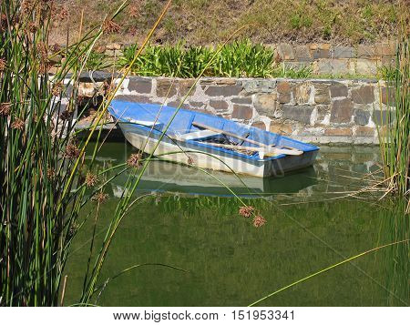 Blue And White Boat In The Moat 11as