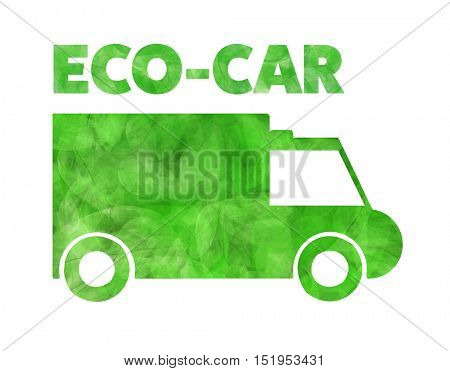 Car silhouette made of green leaf with word ECO-CAR on white background. Nature conservation concept.