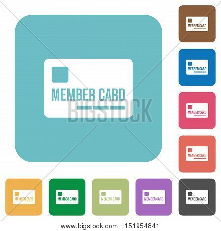 Flat member card icons on rounded square color backgrounds.