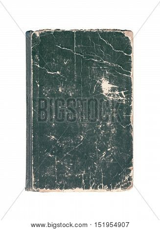 Black Vintage Old Cover Of Book With Cracks Isolated On A White Background