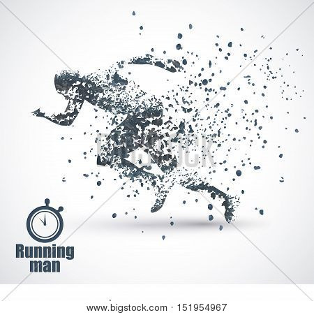 Running Man, particle divergent composition, vector illustration , solated on white background