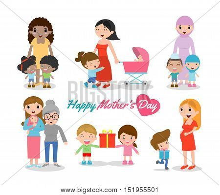 Vector illustration of Mother and Child isolated on white background, Happy Mothers Day, beautiful women and child, happy mothers day, Beautiful mother with her kid.
