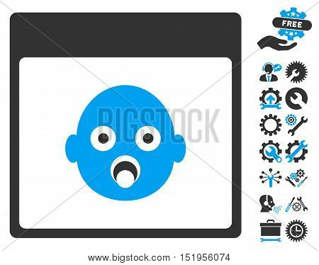 Newborn Head Calendar Page pictograph with bonus settings pictures. Vector illustration style is flat iconic symbols, blue and gray, white background.