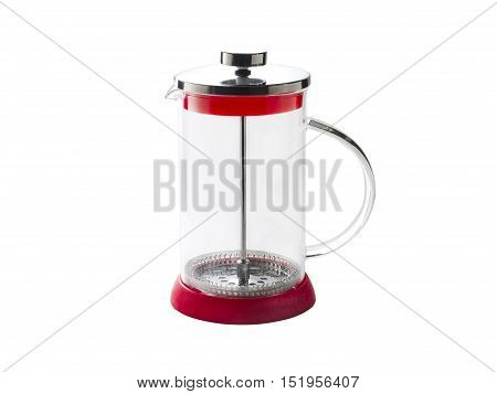 transparent glass French press for a coffee or tea with chrome cover