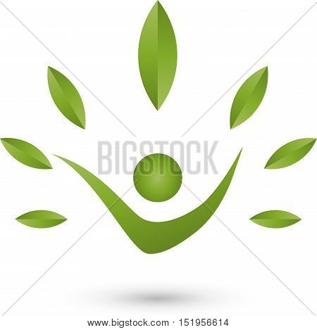 A person and leaves in green, naturopath and nature logo