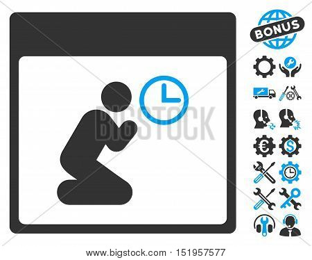 Pray Clock Calendar Page icon with bonus tools symbols. Vector illustration style is flat iconic symbols, blue and gray, white background.