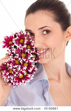 Pretty Woman's Face With Flovers