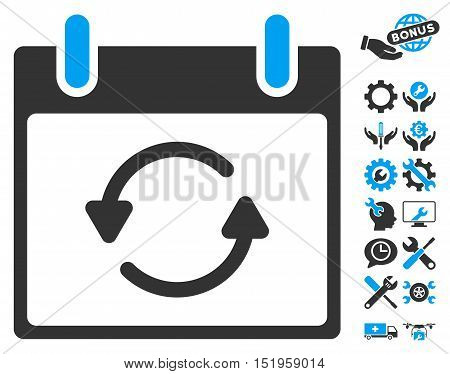 Refresh Calendar Day pictograph with bonus setup tools images. Vector illustration style is flat iconic symbols, blue and gray, white background.