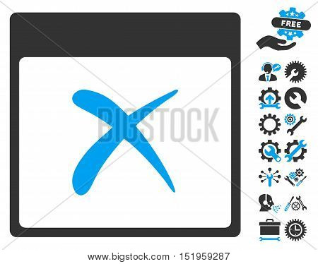 Reject Calendar Page pictograph with bonus tools pictograph collection. Vector illustration style is flat iconic symbols, blue and gray, white background.