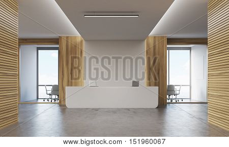 Two conference rooms surrounding reception desk with two laptops. Concept of consulting company. 3d rendering. Mock up.