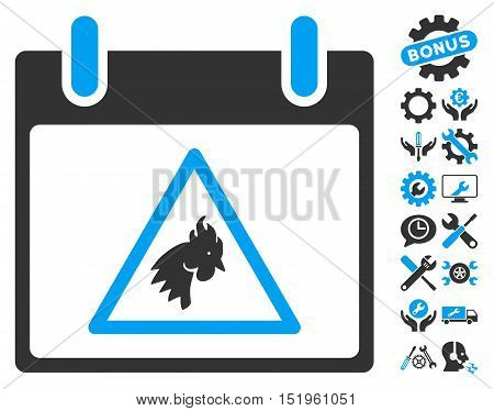 Rooster Warning Calendar Day pictograph with bonus setup tools clip art. Vector illustration style is flat iconic symbols, blue and gray, white background.