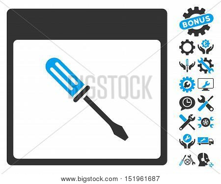 Screwdriver Calendar Page pictograph with bonus setup tools pictograph collection. Vector illustration style is flat iconic symbols, blue and gray, white background.