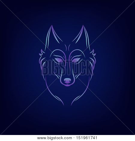 Wolf silhouette. Vintage wolf face logo emblem template for business or t-shirt design. Vector wolf Vintage Design Element. Wolf logo. Wolf icon. Color silhouette wolf.
