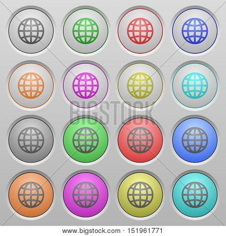 Set of globe plastic sunk spherical buttons.