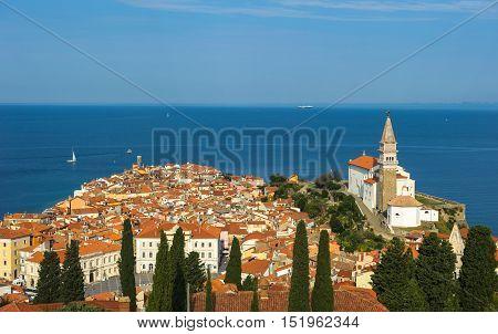 Panoramic View Of Piran Over Adriatic Sea, Slovenia