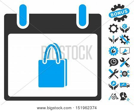 Shopping Bag Calendar Day pictograph with bonus options icon set. Vector illustration style is flat iconic symbols, blue and gray, white background.