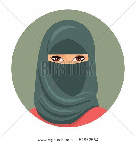 Muslim girl avatar. Portrait of a young muslim woman in hijab. Vector illustration.