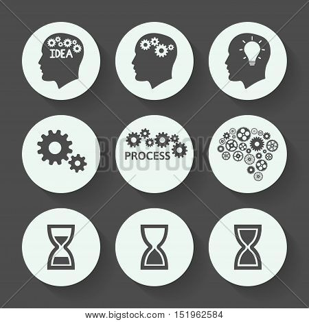 Processes gray icon set, flat design. Vector illustration