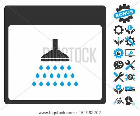 Shower Calendar Page pictograph with bonus settings pictograph collection. Vector illustration style is flat iconic symbols, blue and gray, white background.