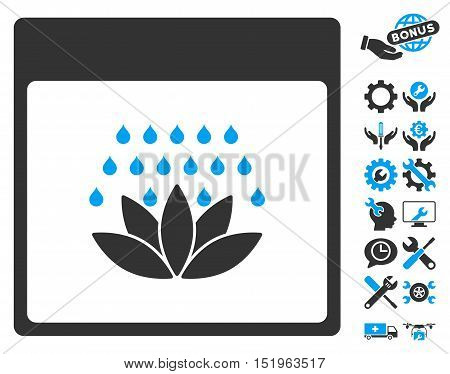 Spa Shower Calendar Page icon with bonus service clip art. Vector illustration style is flat iconic symbols, blue and gray, white background.