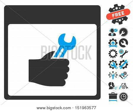Spanner Service Hand Calendar Page pictograph with bonus configuration pictograms. Vector illustration style is flat iconic symbols, blue and gray, white background.